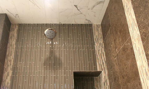 Fully Tiled Shower Wall and Ceiling